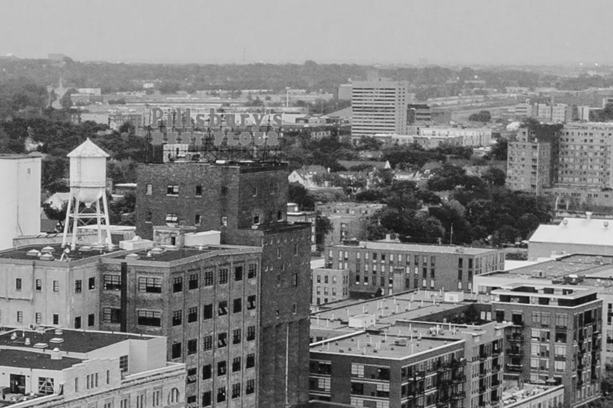 downtown black and white